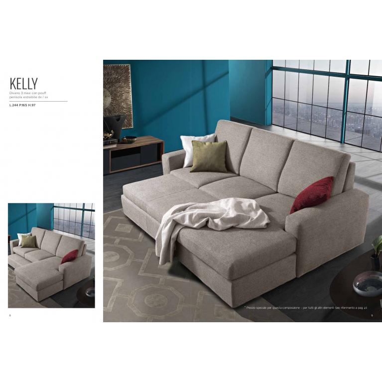 Divano KELLY 3 maxi con pouff L.244 P.165 H.97