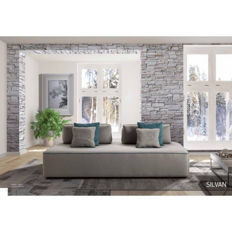 Divano-sofà, con schienale removibile, sfoderabile cm 220x110 e cuscini volanti