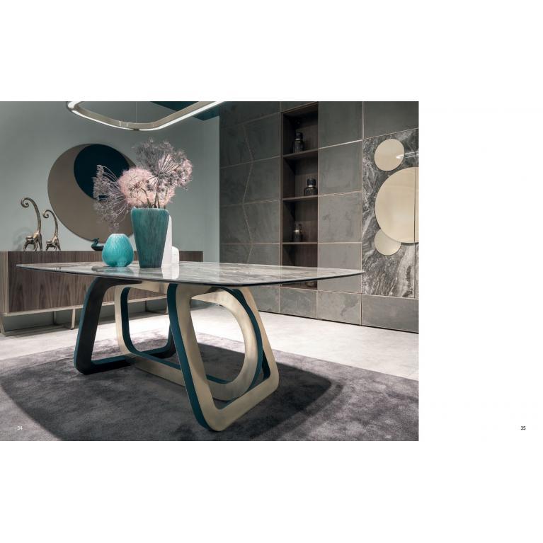 Tavolo Cortezari mod. LOOP con piano in vetro e gres arabesque soggiorno