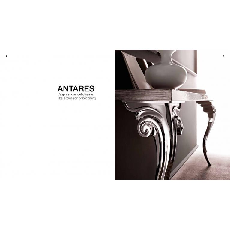 Consolle Antares luxury, con gambe Nichel-top rovere sabbiato cenere Cortezari