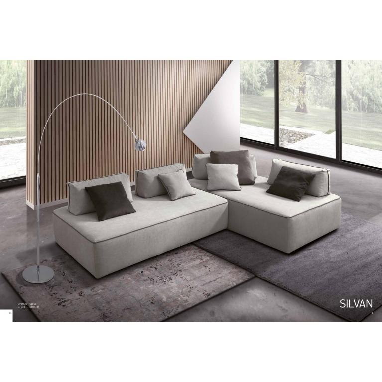 Divano-sofà con penisola, quattro schienali removibili, sfoderabile, cuscini volanti