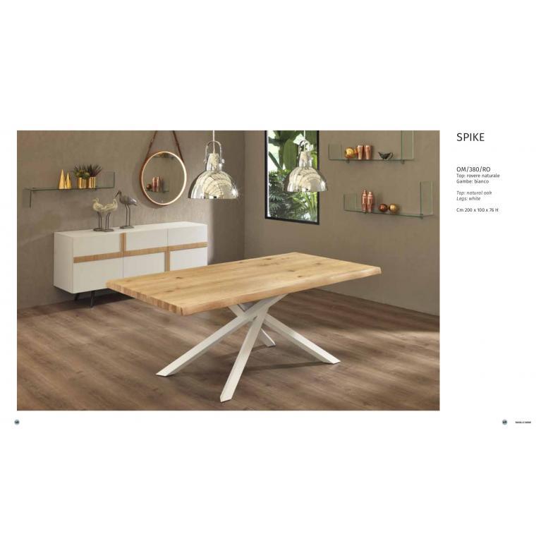 Tavolo SPIKEallungabile, soggiorno-cucina, con top in legno rovere naturale e gambe bianco. CM 160/240 L.90 OPPURE CM 200/300 L. 100