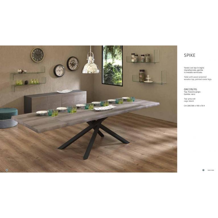 Tavolo soggiorno allungabile SPIKE , con top in legno frassino grigio cm 200/300 L.100H76